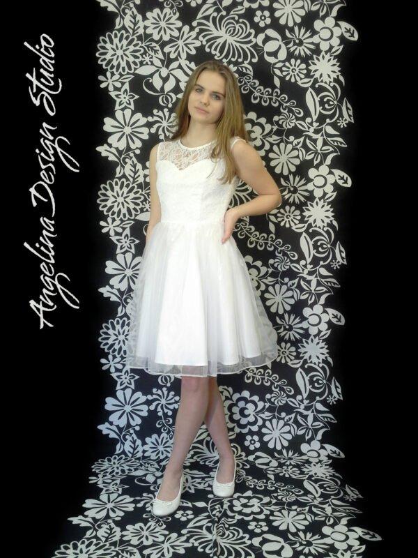 Konfirmationskjole med blonde overdel EVA uden ærme