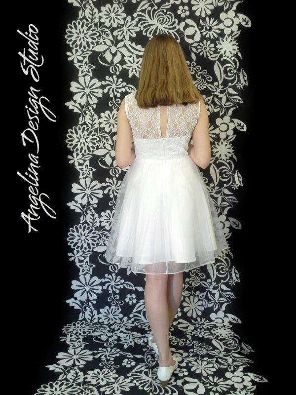 Konfirmationskjole med blonde overdel EVA med blonderyg