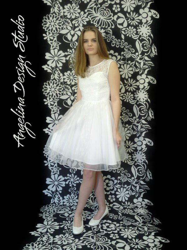 Konfirmationskjole med blonde overdel EVA
