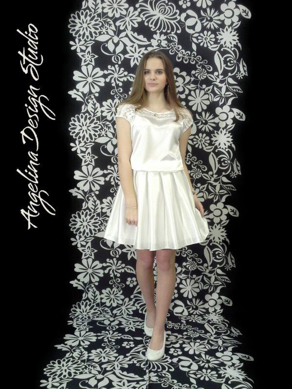 Konfi kjole med flotte blonder OLIVIA. Smuk konfirmationskjole.